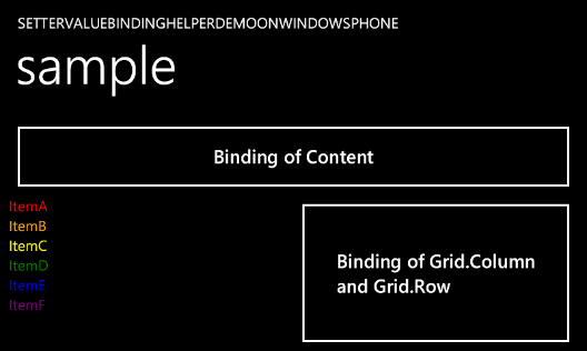 SetterValueBindingHelperDemo sample on Windows Phone 7