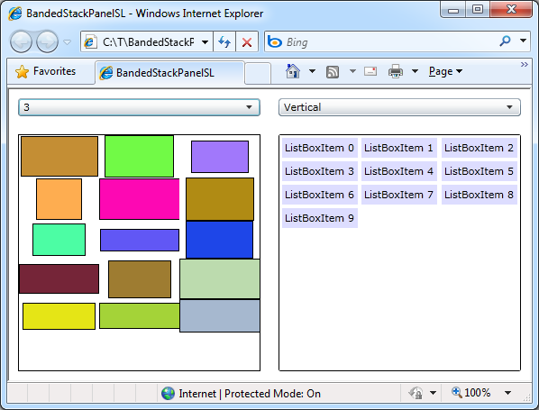 Vertical BandedStackPanel on Silverlight