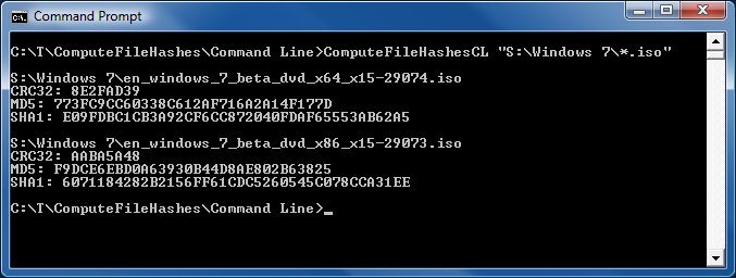 Command-line ComputeFileHashes