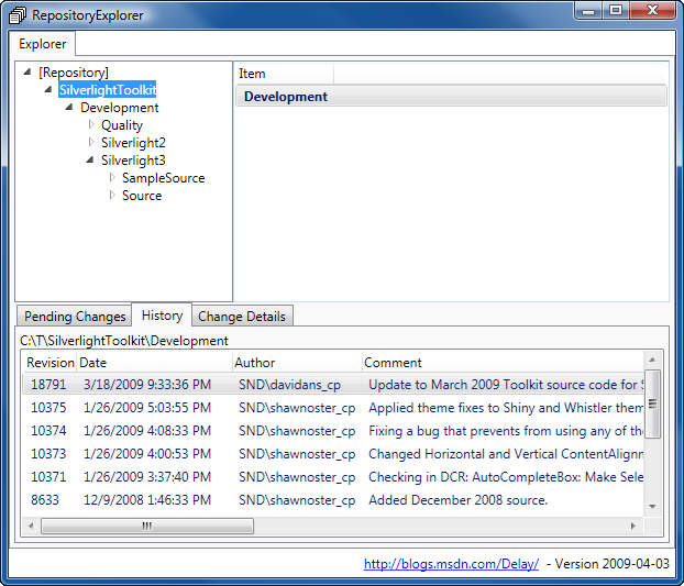 RepositoryExplorer main view