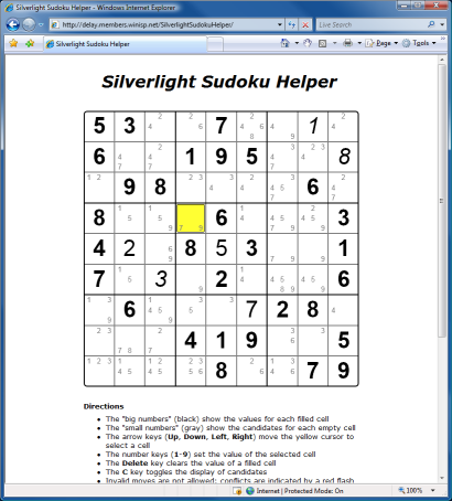 Silverlight Sudoku Helper