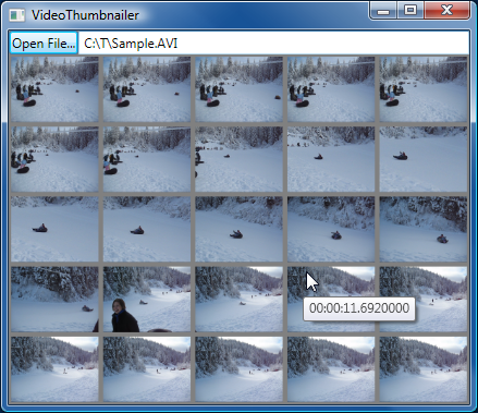 VideoThumbnailer sample frame capture application