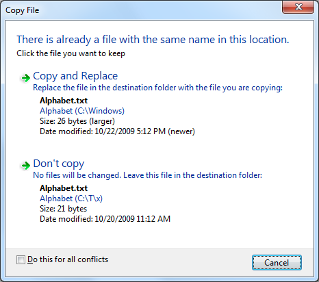 Windows conflict dialog